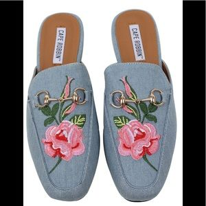 Denim blue  Floral Embroidered Slip on Mules